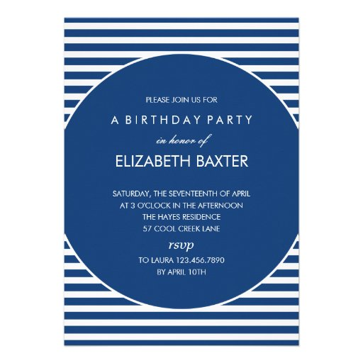 Fabulous Stripes General Party Invitation (Blue) Cards