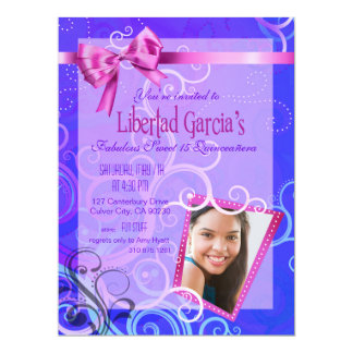 Fabulous Sweet 15 Quinceañera Party Photo Card