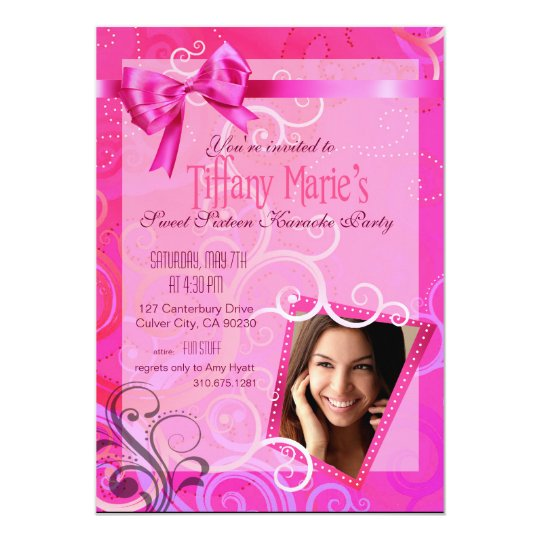 Fabulous Sweet 16 Karaoke Birthday Party Photo Card