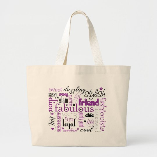 Fabulous Synonym Black Purple Large Tote Bag