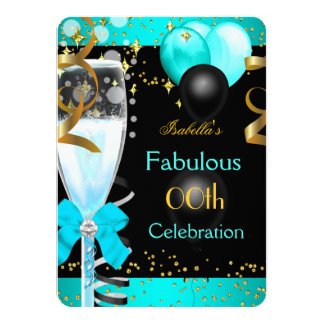Fabulous Teal Blue Champagne Gold Birthday Party 4.5x6.25 Paper Invitation Card