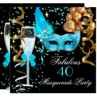 Fabulous Teal Gold Black Masquerade Party Card