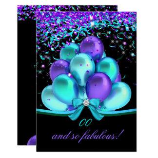 Fabulous Teal Purple Streamers Balloons Birthday Card