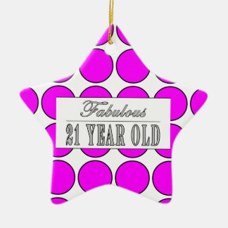 Fabulous Twenty One Year Old Pink Polka Dots Christmas Ornament