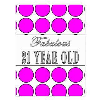 Fabulous Twenty One Year Old Pink Polka Dots Post Card