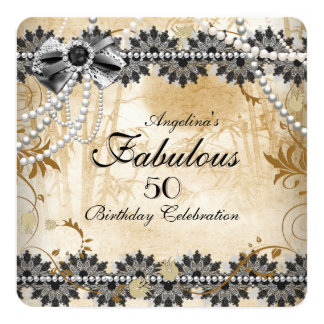 Fabulous Vintage Black Cream Beige Lace Floral 13 Cm X 13 Cm Square Invitation Card
