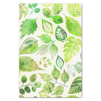 Fabulous Watercolor Leaves Print Tissue Paper