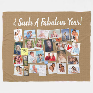 Fabulous Year Make Your Own Photo Cork Board Fleece Blanket
