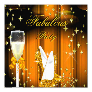 Fabulous Yellow Gold Glitter High Heels Party 13 Cm X 13 Cm Square Invitation Card