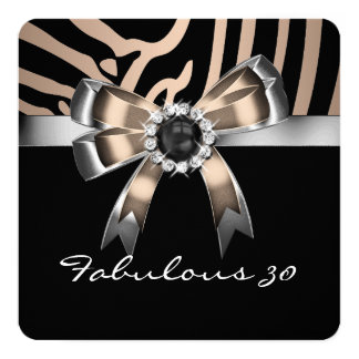 Fabulous Zebra Coffee Black Pearl Birthday Party Announcement Cards