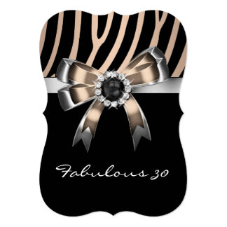 Fabulous Zebra Coffee Black Pearl Birthday Party 5x7 Paper Invitation Card
