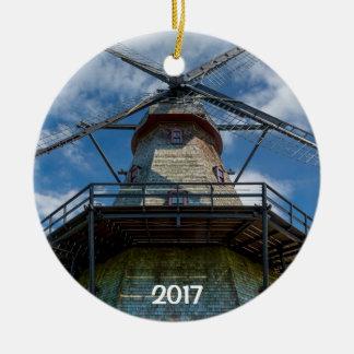 Fabyan Windmill and Fox River 2 sided ornament