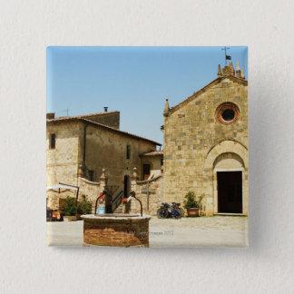 Facade of a church, Romanesque Church, Piazza 15 Cm Square Badge