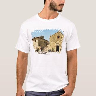 Facade of a church, Romanesque Church, Piazza T-Shirt