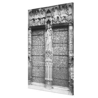 Facade of Notre-Dame, left portal, Paris Canvas Print