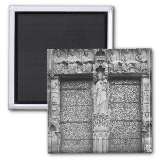 Facade of Notre-Dame, left portal, Paris Fridge Magnets