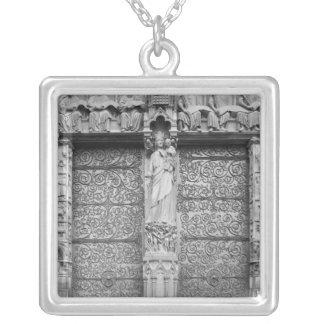 Facade of Notre-Dame, left portal, Paris Silver Plated Necklace