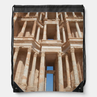 Facade Of Roman Amphitheater, Sabratha Drawstring Bag
