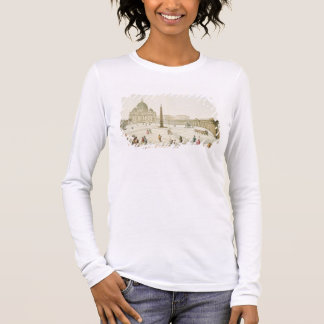 Facade of St. Peter's in Rome with the Piazza in f Long Sleeve T-Shirt