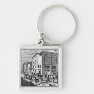 Facade of the Hotel Drouot, Paris, c.1852 (engravi Silver-Colored Square Key Ring