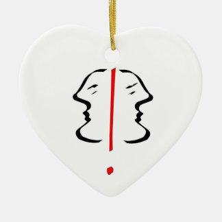 Face 2 ceramic heart decoration