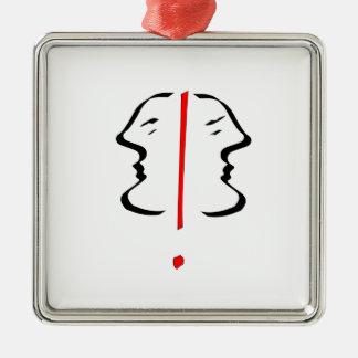 Face 2 Silver-Colored square decoration