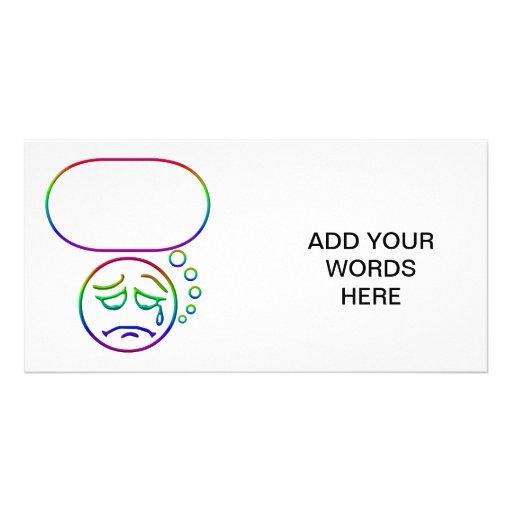 Face #6 (with speech bubble) custom photo card