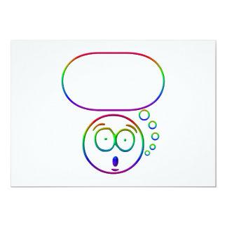 Face #7 (with speech bubble) 13 cm x 18 cm invitation card