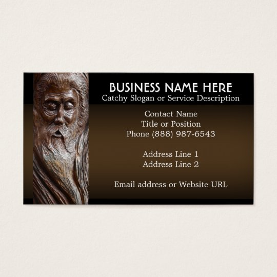 Face Carved in Wood Business Card