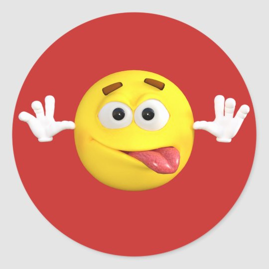 934a27a8 Face emoji sticking out tongue teasing classic round sticker bca ce ac ce  be waf byvr