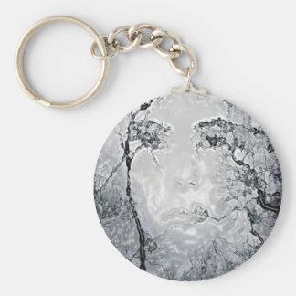 face illusion basic round button key ring