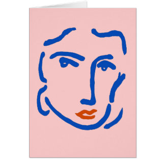 Face In Blue, Matisse Style Card