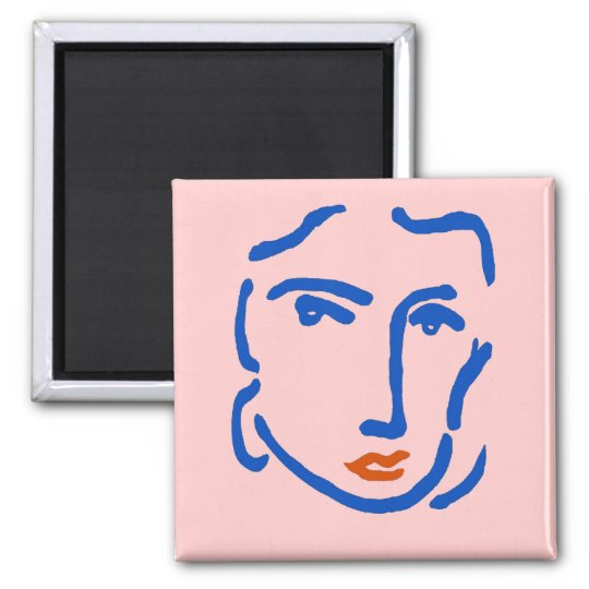 Face In Blue, Matisse Style Magnet
