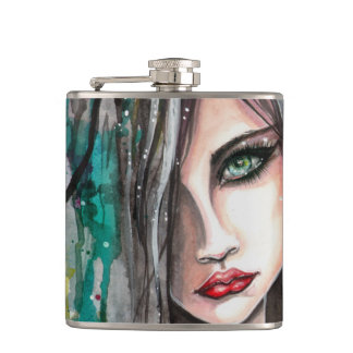 Face in Paint Abstract Fantasy Art Girl Portrait Hip Flask