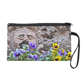 """""""FACE IN STONE WALL WITH PANSIES"""" WRISTLET"""