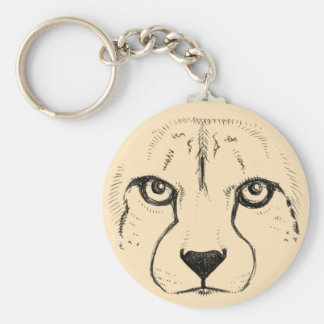 Face of a Cheetah Basic Round Button Key Ring