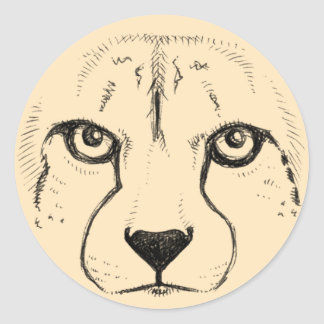 Face of a Cheetah Classic Round Sticker