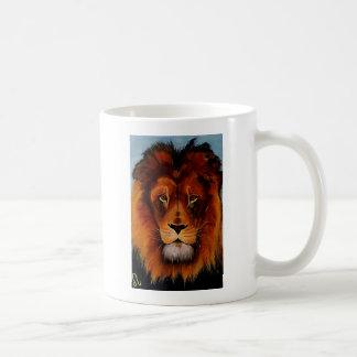 Face of a lion realistic painted basic white mug