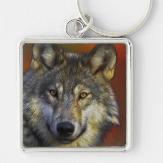 Face of a Wolf Photo Key Ring
