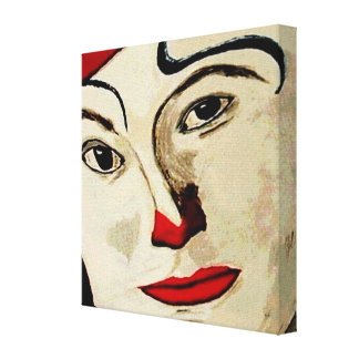 face of clown stretched canvas prints