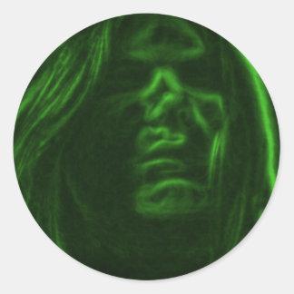 Face of Green Smoke Round Sticker