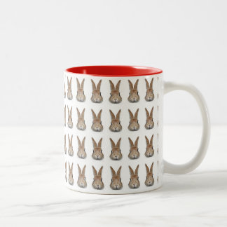 Face of rabbit of 60 feathers Two-Tone mug