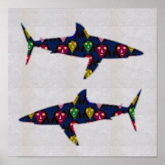FACE painted SHARK fish aquatic NavinJOSHI NVN116 Poster