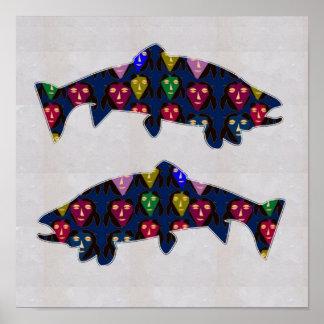FACE painted TROUT fish aquatic NavinJOSHI NVN115 Poster