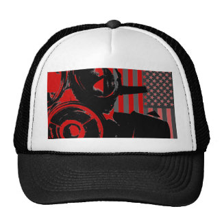 Face Palm Retro Gas Mask Red Backed Hat