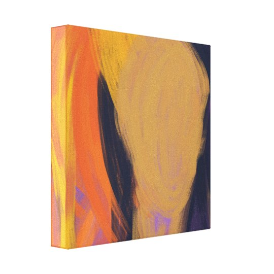 Face - Purple and Orange Abstract Art Canvas Print