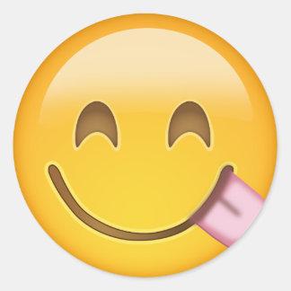 Face Savouring Delicious Food Emoji Round Sticker