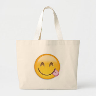 Face Savouring Delicious Food Emoji Jumbo Tote Bag