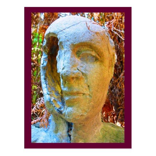 face sculpture postcard