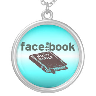Face The Book Silver Plated Necklace